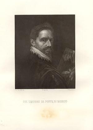 Incisione ottocentesca raffigurante il pittore Leandro da Ponte (Bassano, 1557-1622) . XIX secolo.