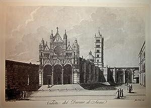 """VEDUTA DEL DUOMO DI SIENA. Riproduzione tratta da """"Viaggio pittorico della Toscana"""" di ..."""