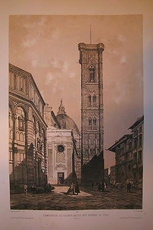 """CAMPANILE DE SAINTE MARIE DES FLEURS (Le Dome). Firenze. Riproduzione tratta dall'album """"..."""
