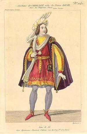 Incisione raffigurante il baritono e tenore Jean Baptiste Chollet nel costume di scena del Principe...