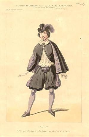 Incisione raffigurante il tenore Gustave Hyppolite Roger nel costume di scena di Rafel d'...