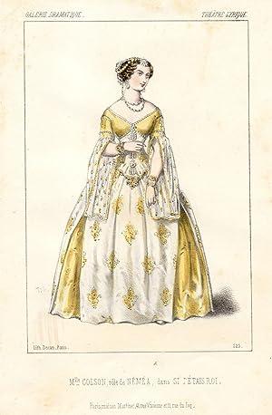 Litografia raffigurante la cantante lirica Pauline Colson nel costume di scena di Nemea nell'...