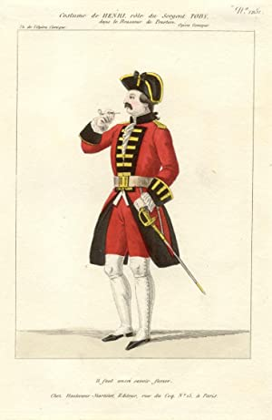 Incisione raffigurante il cantante lirico Henri (o Henry) nel costume di scena del Sergente Toby ...