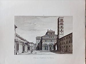 CHIESA CATTEDRALE DI LUCCA. Veduta di Piazza San Martino. Incisione originale su rame tratta da &...