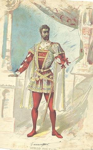 """Figurino policromo a stampa raffigurante Francesco Tamagno nell'""""Otello"""" di Giuseppe..."""