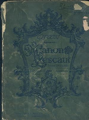 MANON LESCAUT (1893). Dramma lirico in quattro Atti. Opera completa per Pianoforte solo. timbro a ...