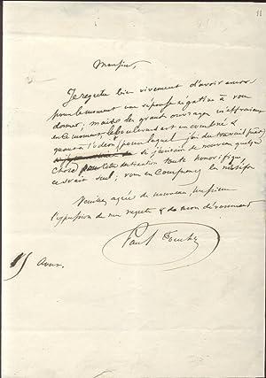 Lettera autografa firmata del letterato e librettista francese Paul Henri Foucher.