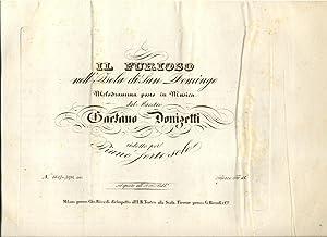 IL FURIOSO NELL'ISOLA DI SAN DOMINGO (1833). Melodramma posto in musica. Riduzione per ...