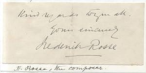 Biglietto con dedica autografa a firma del compositore Frederick Rosse.