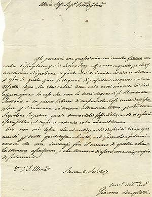 Lotto di quattro lettere autografe firmate del medico Giacomo Barzellotti. Siena, 1804-1807.