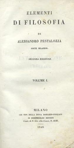 ELEMENTI DI FILOSOFIA. 1845-1847.: PESTALOZZA Alessandro.