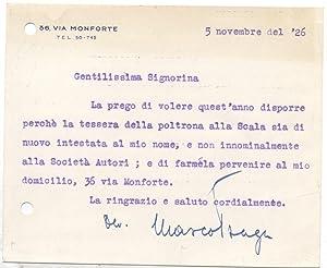 Biglietto a firma autografa del drammaturgo Marco Praga.
