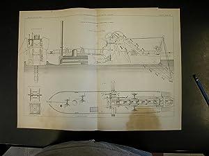 """MACCHINE ESCAVATRICI. Due tavole tecniche in Litografia Pozzo, tratte da """"Giornale del Genio ..."""