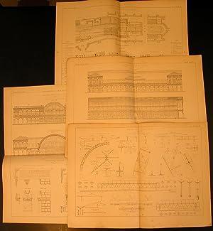 """STAZIONE CENTRALE DI TORINO. Quattro tavole tecniche in litografia Pozzo, tratte da """"Giornale ..."""