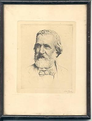 Litografia originale di Pech raffigurante il musicista Giuseppe Verdi.