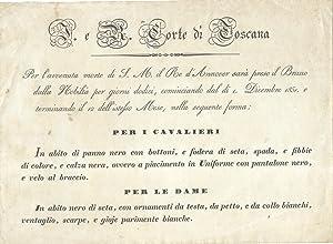 Biglietto originale contenente le indicazione per il lutto della Nobiltà Toscana in ...