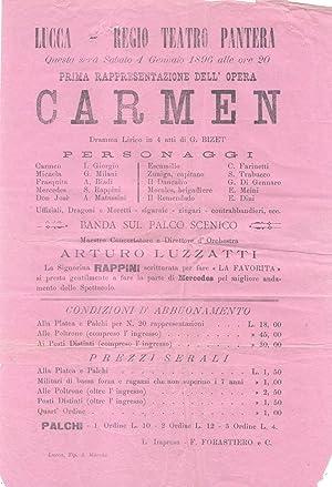 """Locandina originale per una rappresentazione dell'opera """"Carmen"""" di Georges Bizet al..."""