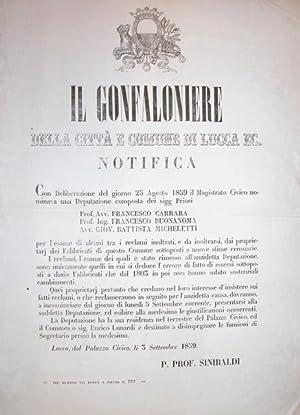 Notificazione ufficiale del Gonfaloniere della Città e Comune di Lucca in merito all'...