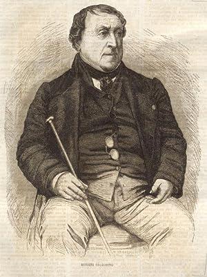 Ritratto in xilografia del musicista Gioacchino Rossini.