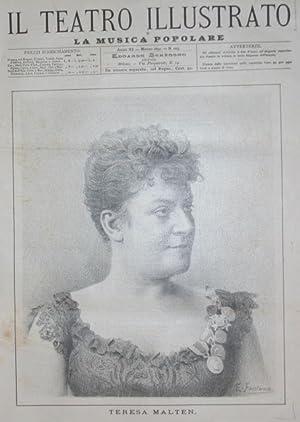 Ritratto in xilografia della cantante Teresa Malten.