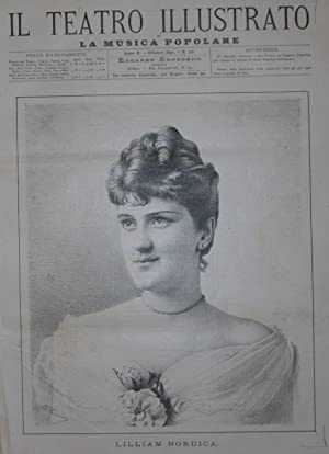 Ritratto in xilografia della cantante Lilliam Nordica.