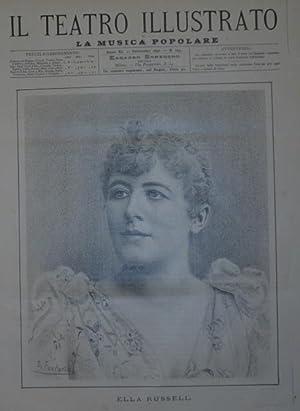Ritratto in xilografia della cantante Ella Russell.