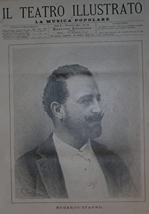 Ritratto in xilografia del cantante Roberto Stagno.