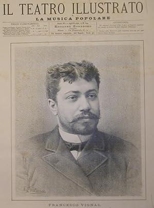 Ritratto in xilografia del cantante Francesco Vignas.