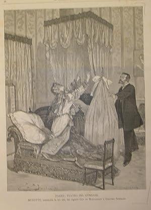 """Xilografia raffigurante una scena di """"Musotte"""", commedia in tre atti di Guy De Maupassant..."""