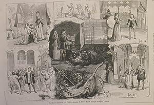 """Xilografia raffigurante alcune scene della prima rappesentazione di """"Cecilia"""", dramma di ..."""