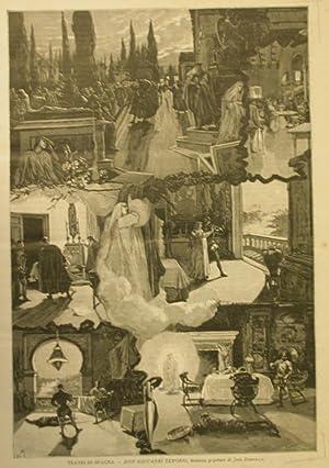 """Xilografia raffigurante alcune scene del dramma popolare """"Don Giovanni Tenorio"""" di Jos&..."""