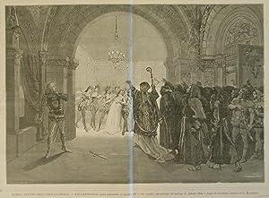 """Xilografia raffigurante una scena della prima esecuzione di """"Esclarmonde"""", opera ..."""
