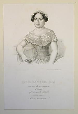 Litografia originale raffigurante la cantante lirica Maddalena Vetturi Olivi.