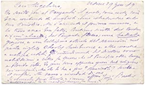 Cartolina postale autografa firmata del poeta Luigi Pinelli.