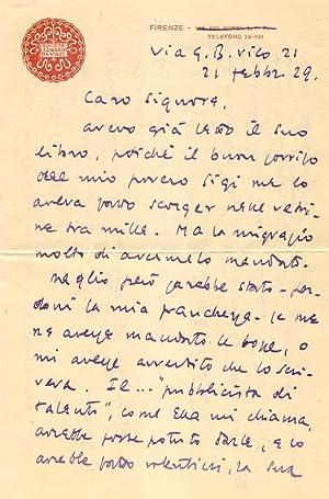 Lettera autografa firmata dello scrittore e giornalista fiorentino Federico Valerio Giusto Ratti.