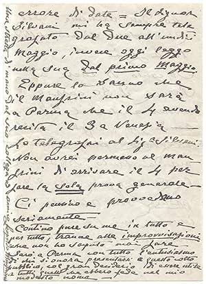 Lunga lettera autografa firmata, indirizzata dal direttore d'orchestra Leopoldo Mugnaini al ...