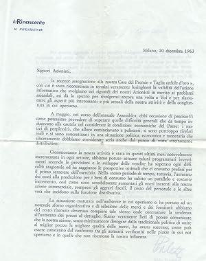 Lettera dattiloscritta a firma autografa del senatore Aldo Borletti (Milano, 1880-1939).