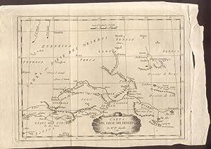 CARTA DEL PAESE DEI DESERTI DI Mr.D'ANVILLE. Incisione originale, 1781.