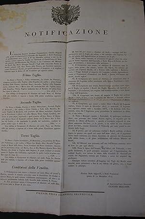 Notificazione del 12 dicembre 1824 della Soprintendenza Generale delle RR.Possessioni del ...