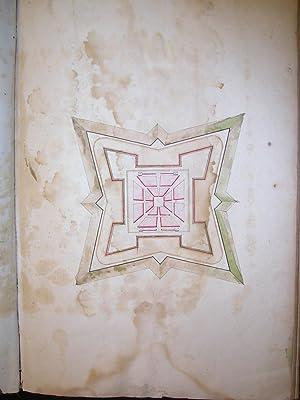 Grande Album ottocentesco contenente 15 disegni policromi di scorci di fortificazioni militari. Met...