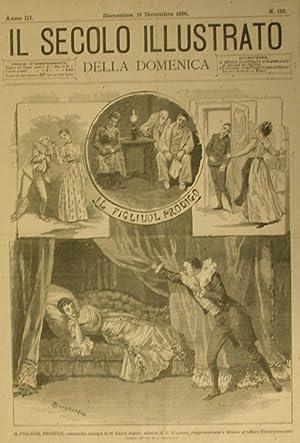 """Xilografia raffigurante alcune scene di """"Il figliuol prodigo"""", commedia mimica di M.Carr&..."""