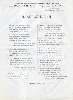 MARCHIGIANI ED UMBRI. L'Insurrezione Siciliana non solo in Sicilia bisogna aiutarla ma nell&#...