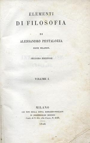 ELEMENTI DI FILOSOFIA. 1849-1850.: PESTALOZZA Alessandro.