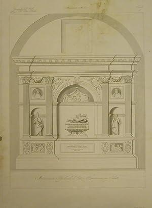 MONUMENTO SEPOLCRALE DI ETTORE FIERAMOSCA IN CHIETI. Incisione originale ottocentesca di L. De ...