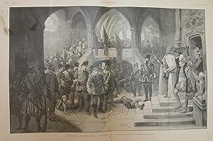 "Xilografia di L.Rousseau raffigurante una scena di ""Patria!"", commedia di Victorien ..."