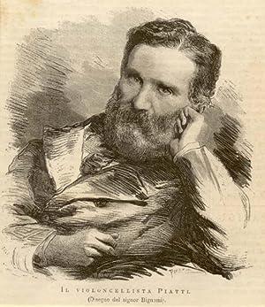 Xilografia raffigurante il violoncellista Alfredo Carlo Piatti (Borgo Canale di Bergamo, 1822-1901)...
