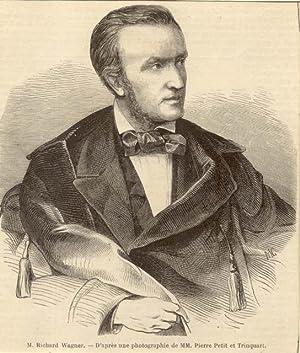 "Incisione originale raffigurante il musicista Richard Wagner, ""d'après une ..."