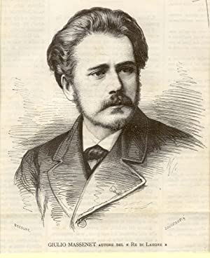 Incisione originale raffigurante il musicista Jules Massenet.