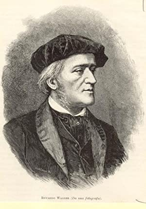 Incisione originale raffigurante il musicista Richard Wagner.