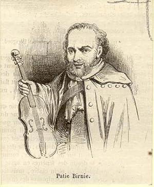 Incisione originale raffigurante il violinista Patie Birnie.